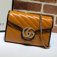 gucci gg diagonal marmont leather mini chain bag 573807 cognac 2019 collection