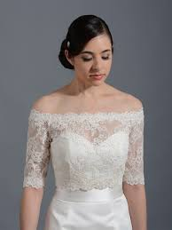 Off Shoulder Wedding Jacket Lace Bolero Wj003