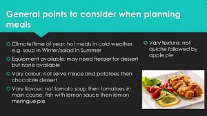 Points To Consider When Planning Preparing And Cooking Meals Ppt