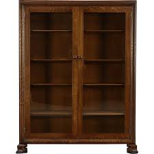 oak antique library bookcase glass doors lion paw feet harp gallery furniture ruby lane small narrow