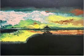 serene abstract landscape painting by artist parineeta acrylic canvas