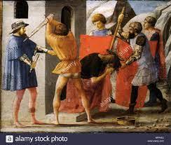 Italian: Martirio di san giovanni Battista . Predella panel from the Pisa  Altar . 1426. 868 Masaccio martirio di san giovanni Battista Stock Photo -  Alamy