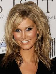 um length layered hairstyles with side swept bangs