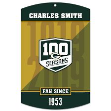 packers 100 seasons personalized wood sign