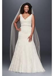 jewel scalloped mermaid plus size wedding dress david s bridal