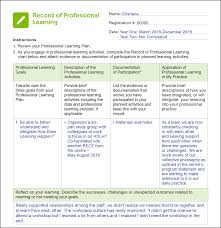 Professional Goals List Documenting Your Continuous Professional Learning College Talk