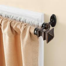 double target curtain rods with beige marburn curtains