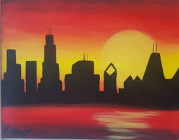 sunset chicago skyline