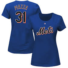 Piazza Mets Majestic amp; Royal Mike T-shirt Women's New Blue Name Cooperstown Number York
