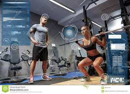 Bodybuilding Chart Free Download Man And Woman With Bar Flexing Muscles In Gym Stock Image