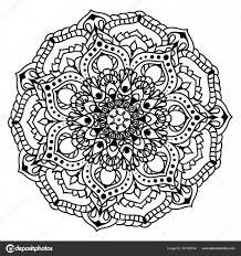Zwarte Mandala Sieraad Met Bloemen Stockvector Manyashka80