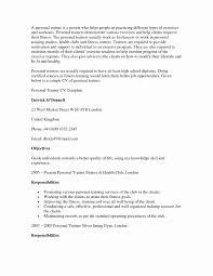Fitness Instructor Resume Sample Fitness Trainer Resume Format New Personal Trainer Resume Examples 16