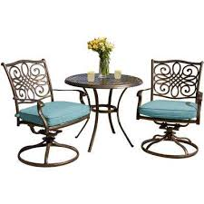 seasons 3 piece aluminum round outdoor bistro set with two swivel rockers and blue cushions