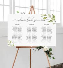 Etsy Wedding Seating Chart Printable Greenery Wedding Seating Chart Long Tables Seating Chart Editable Seating Chart Template Diy Wedding Stationery