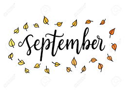 Hello September, Lettering Calligraphic Word. Greeting Card Template ...