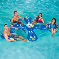 inflatable bar set 4 seats cool chair drink holder cup water swimming pool party