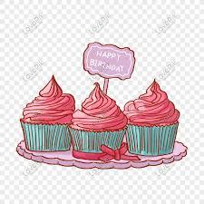 A Set Of Pink Cupcakes Png Free Material Gambar Unduh Gratis Grafik