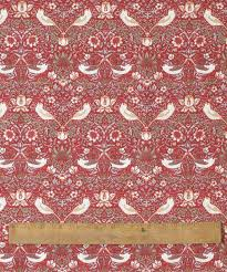 william morris red strawberry thief 147cm round fl tablecloth