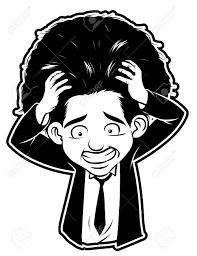 黒と白のクリップアート ストレス男