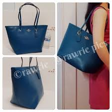 ... New Coach large teal leather zip top tote The Large City Tote In  Saffiano ...