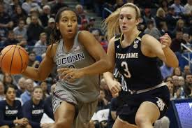 uconn s megan walker 3 drives past notre dame s marina mabrey 3 during the notre dame fighting irish vs uconn huskies women s college basketball game