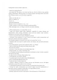 Example Of Resume For Undergraduate Student Examples Of Resumes