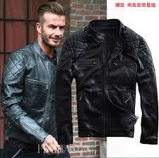 2016 new spring fashion david beckham leather men jacket black stand collar slim fit genuine sheepskin men motorcycle jackets