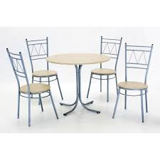oslo round dining table four chairs silver metal frame beech finish