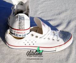 Chuck Taylor Shoes Size Chart Women Converse Bling Crystals Sizes 5 12 Bedazzled Toes