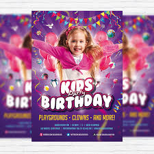 Kids Birthday Party Invitation – Premium Flyer Template + Facebook ...