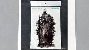 мужская переводная татуировка волк лес