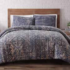 brooklyn loom sand washed cotton indigo blue 3 piece blue full and queen comforter with
