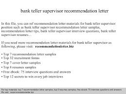 Bank Teller Supervisor Re Mendation Letter Bunch Ideas Of Sample