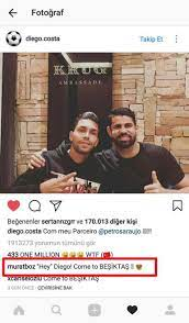 Diego Costa İnstagram paylaşımı ile Beşiktaş taraftarını heyecanlandırdı