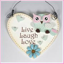 wall hanging heart sign with owl hearts live laugh love decoration wood
