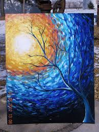 blue painting tree painting sun painting landscape painting original abstract painting on canvas impressionist art 30x24