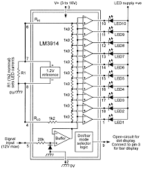 led graph circuits nuts volts magazine for the electronics internal circuit of the lm3914 connections for making a 10 led 0 1 2v linear meter dot or bar graph display