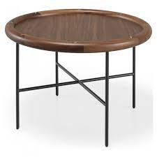 side coffee table with walnut top