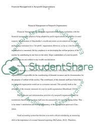Financial Management In Nonprofit Organizations Essay 2