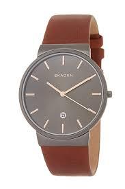 skagen men s ancher leather strap watch nordstrom rack image of skagen men s ancher leather strap watch
