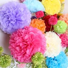 Tissue Paper Flower Centerpieces 2019 4 16 Pompom Tissue Paper Flower Balls Artificial Plants Fake Flowers Party Decoration Wedding Centerpieces Flower Walls Home Decor From Houpoo