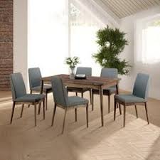 furniture of america reynorth mid century modern 7 piece natural tone dining set