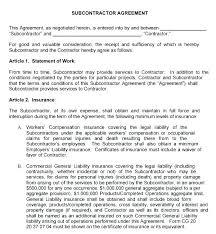 Sample Subcontractor Agreement Unique Subcontractor Contract Template Minetake