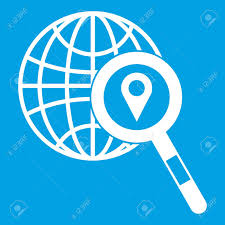 magnifying glass icon white. Contemporary Icon Globe Map Pointer And Magnifying Glass Icon White Isolated On Blue  Background Vector Illustration Stock In Magnifying Glass Icon White