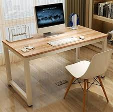 home office table. GOTOTOP Modern Steel Frame Computer Desk, Wooden PC Laptop Desk Study  Writing Table Workstation Home Home Office Table