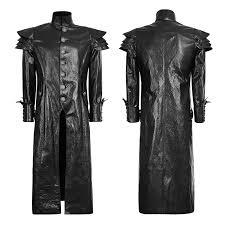 china y 630punk spring black designer leather men jacket long coat china coat garment
