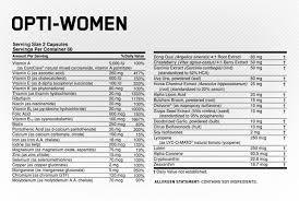 opti women supplement facts