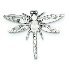 sterling silver solid polished bail cubic zirconia dragonfly pendant