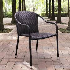 Palm Harbor Brown Outdoor Wicker Stackable Chairs Set Of 4 Crosley Palm Harbor Outdoor Furniture