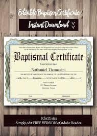 Sample Baptism Certificate Template Interesting Editable Baptism CERTIFICATE Template PDF Adobe Reader Etsy